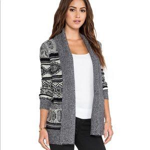 Jack by BB Dakota Aztec Knit Cardigan Sweater Grey